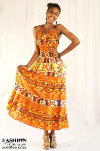 kente print cloth african wear maxi dress fashionghana