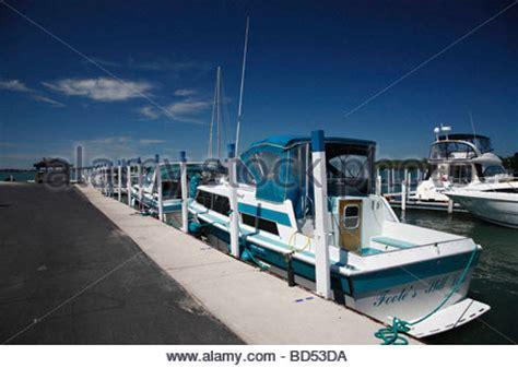 boat marina lake erie boat at dock put in bay south bass island ohio usa on