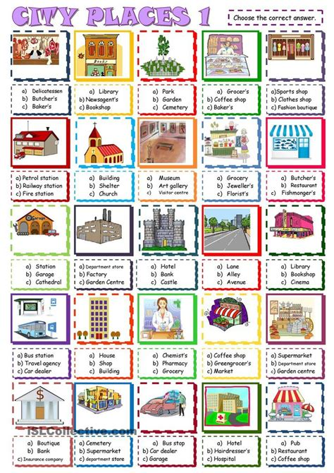 How Does Answer Garden Work City Places Choice Activity1 Esl Worksheet Of