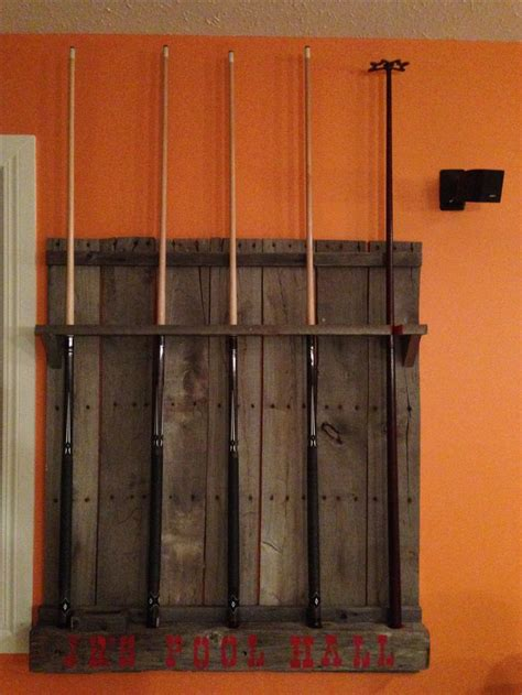 Diy Pool Cue Rack by Reclaimed Wood Pool Cue Rack Used Bin Wood And Power Pole Pieces Pallet Projects