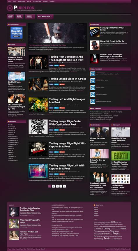 themes html css3 purpleon wordpress theme fashion html5 css3 responsive