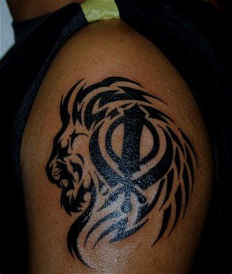 tattoo design khanda punjabi khanda sikh lion and khanda tattoo on shoulder