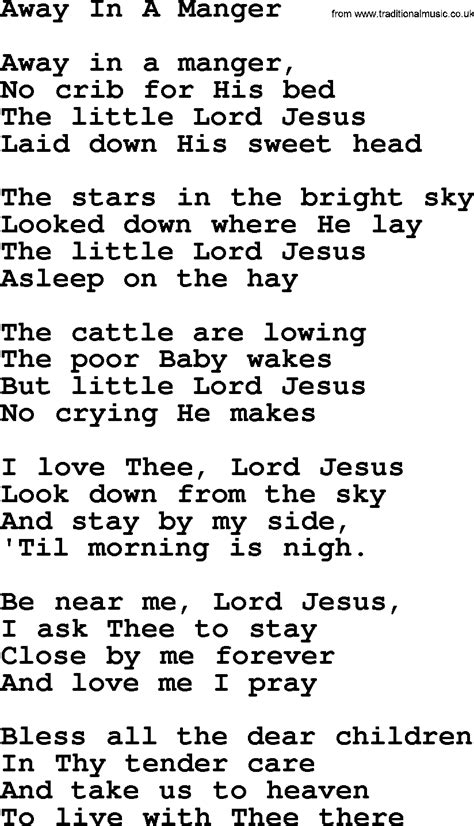 printable lyrics for away in a manger joan baez song away in a manger lyrics