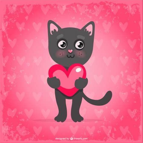cat valentines s day cat vector free