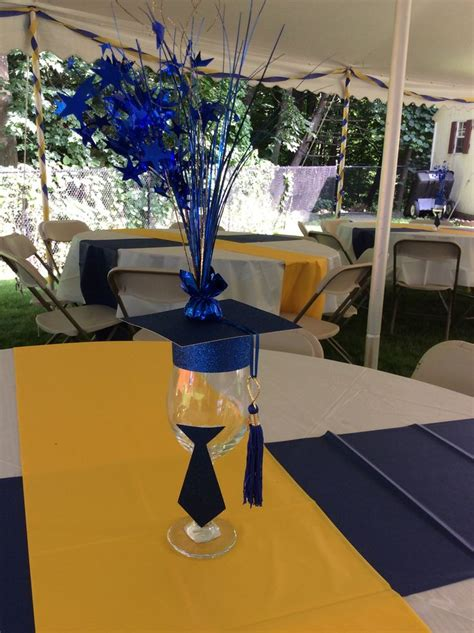 royal blue and gold graduation party by ev events and