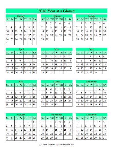 printable calendar at a glance 2016 year at a glance homeschool calendar printable free