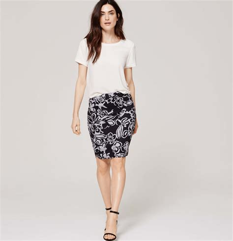 loft painterly floral pencil skirt in black lyst