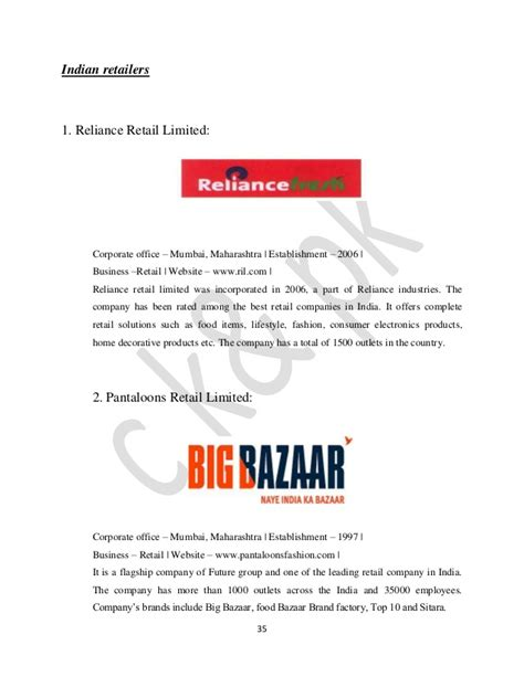 Vishal Mega Mart Project Report Mba by Project Report On Topic Comparative Analysis Of Big Bazaar