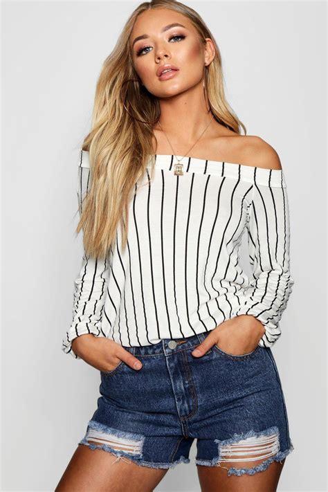 Stripe Tops boohoo womens stripe the shoulder swing top ebay