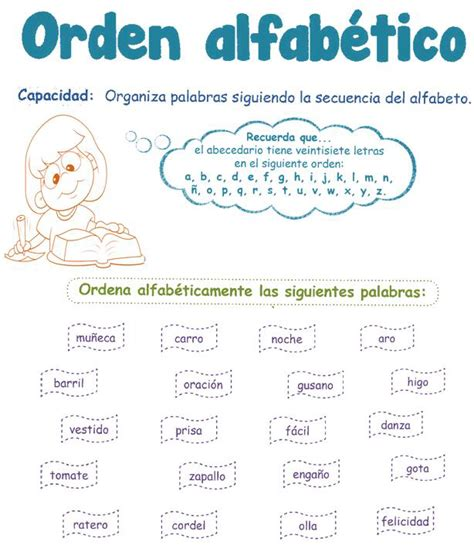 el orden alfabtico 8420473758 orden alfabetico escuela
