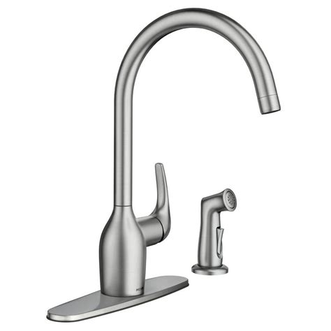 moen lindley single handle side sprayer kitchen faucet in moen essie single handle standard kitchen faucet with side