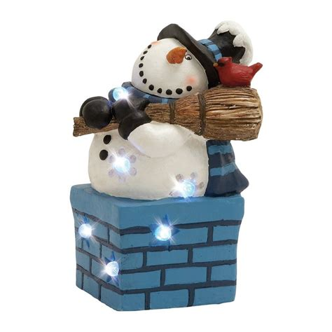 shop woodland imports lighted resin tabletop snowman