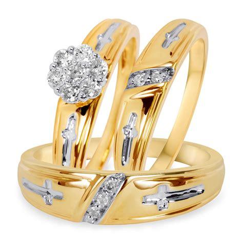 3 8 carat t w diamond trio matching wedding ring set 10k yellow gold my trio rings bt507y10k