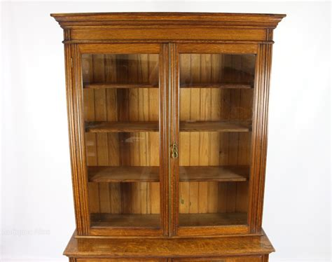 Antique Bookcase Antique Oak Bookcase On Cabinet Cupboard