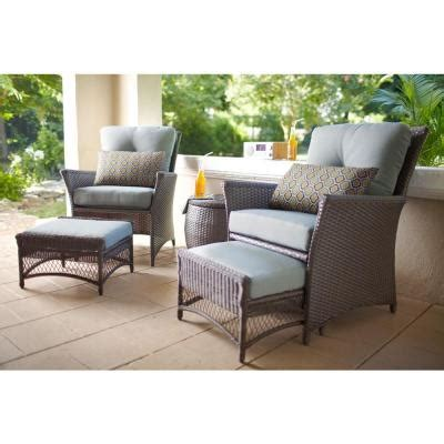 hton bay blue hill 5 woven patio chat set s140071