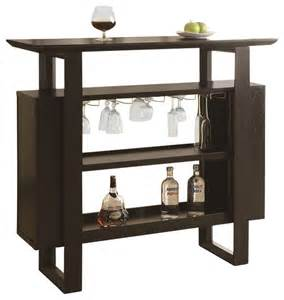 Vegas Storage Bar Table Rectangular Bar Table With Bottle And Glass Storage In Cappuccino Contemporary Indoor Pub