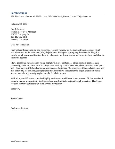 administrative assistant cover letter administrative assistant cover letter template