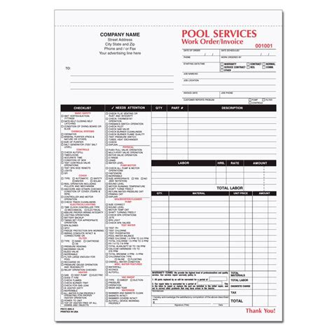Spa Pool Business Invoice Forms Work Order Designsnprint Service Call Invoice Template