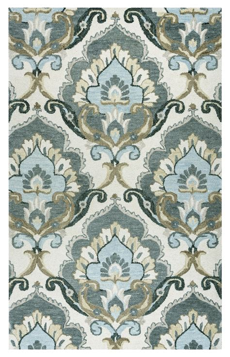 Leons Area Rugs Traditional Motifs Floral Wool Area Rug In Beige Gray Blue 9 X 12
