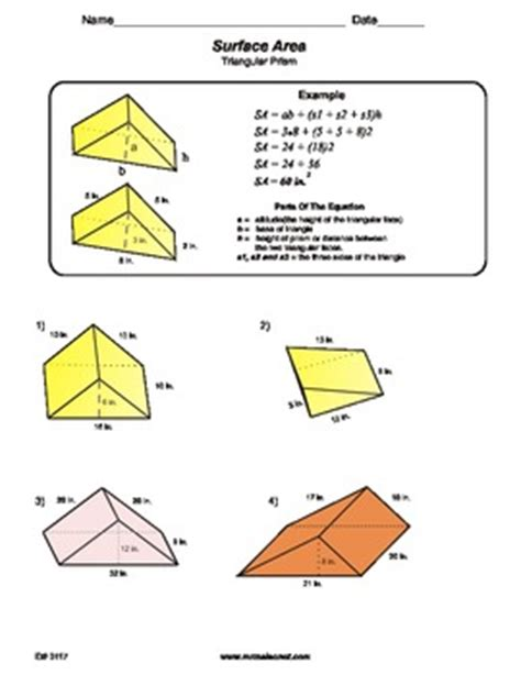 Surface Area Of Triangular Prism Worksheet by Surface Area Of A Triangular Prism By Maisonet Math