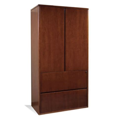 2 Door Wood Storage Cabinet 2 Drawer Lateral W 2 Door Storage Cherry Wood