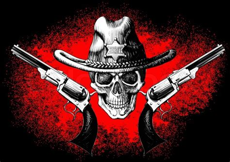 skull wearing a cowboy hat with two guns on the black and