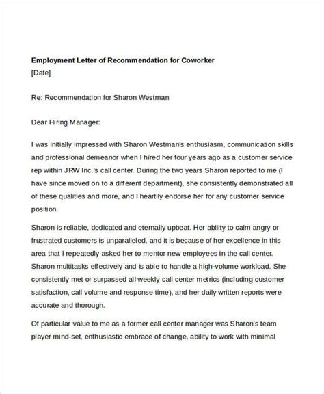 Letter Of Recommendation Coworker coworker recommendation letter 10 free word pdf