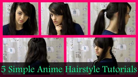 names of anime inspired hair styles 5 simple anime hairstyle tutorials hopeletta youtube