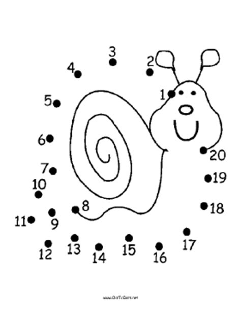 Printable Snail Dot To Dot Puzzle