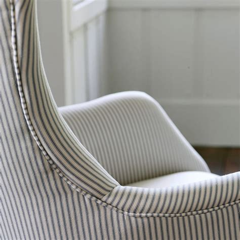 Gray Striped Chair Bromley Wing Back Chair Grey Ticking Stripe By Rowen