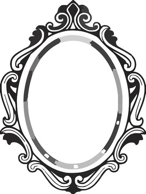 black and white mirror line drawing mirror frame clipart panda free clipart