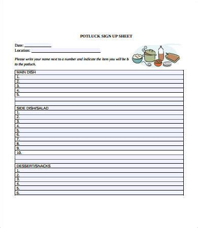 potluck signup sheet 12 free pdf word documents