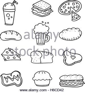 doodle food ltd collection stock drink doodle set stock vector