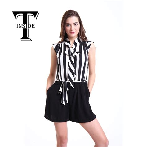t inside s casual sleeveless jumpsuit overall bodysuit of black and white striped blouse