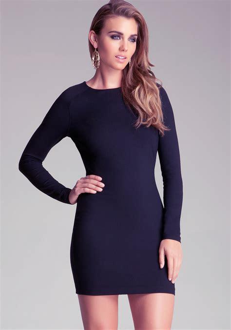 Sleeve Bodycon Dress bebe sleeve bodycon dress in blue lyst