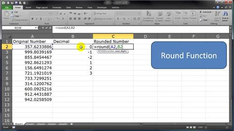 how to round round up round down a range of cell numbers in excel