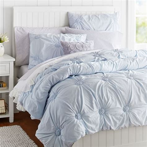 rosette comforter ruched rosette quilt sham frost blue pbteen