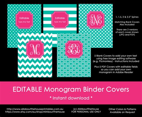 editable binder cover templates allaboutthehouse printables