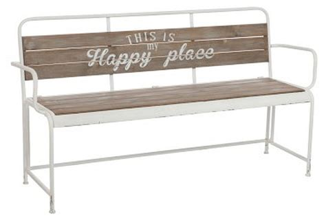 bank metall sitzbank bank happy place metall holz vintage look