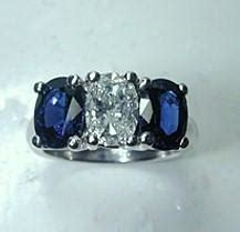 Blue Sapphire 2 35ct 2 35ct oval blue sapphire engagement ring 18kt