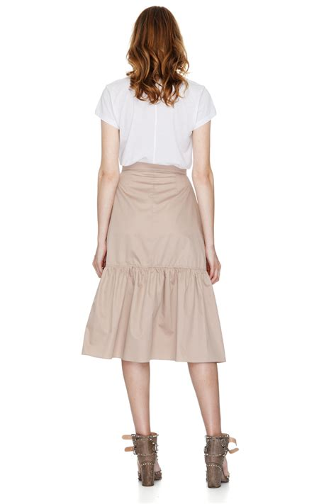 Ruffled Skirt ruffled cotton poplin midi skirt pnk casual