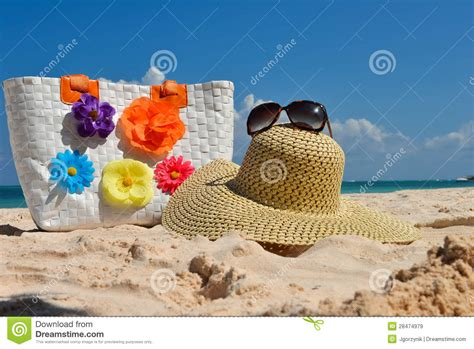 Coast Into Summer With The Handbag by Summer Bag With Straw Hat And Sunglasses Stock Image