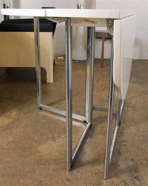 Chrome Kitchen Table Italian Drop Leaf Dining Kitchen Table In Chrome Laquer At 1stdibs