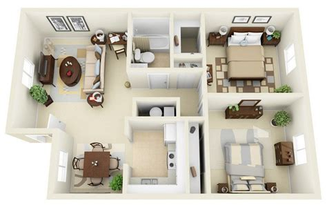 Cost Of 2 Bedroom Apartment by 20 Awesome 3d Apartment Plans With Two Bedrooms Part 2