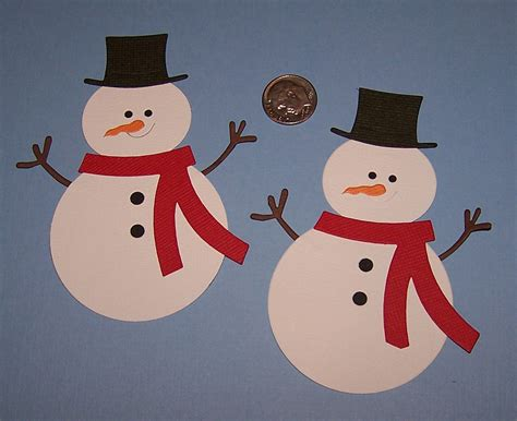 How To Make Snowman With Paper - 2 snowman scrapbooking paper die cuts by diecuts4u
