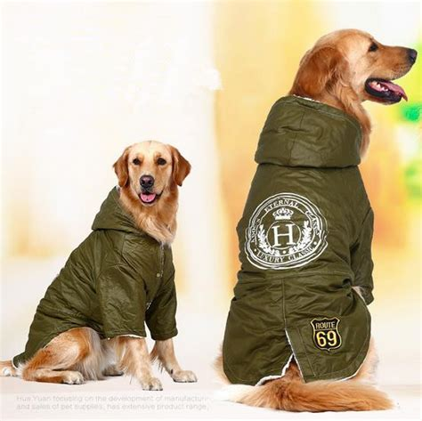 golden retriever jacket army green pet clothes big clothes winter warm