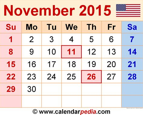 printable month planner november 2015 november 2015 calendars for word excel pdf