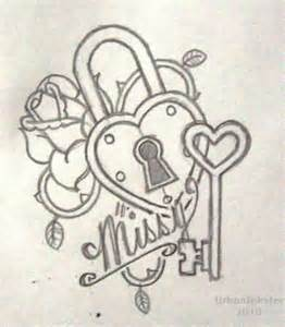 realistic 3d heart shape lock with key tattoo design for
