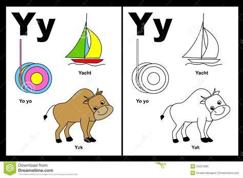 imagenes que comienzan con la letra y hoja de trabajo de la letra y ilustraci 243 n del vector