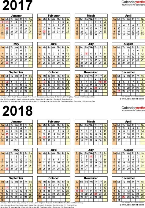 two year calendar template 2017 2018 calendar free printable two year pdf calendars